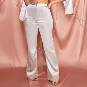 Silver high-waisted belted satin are trousers